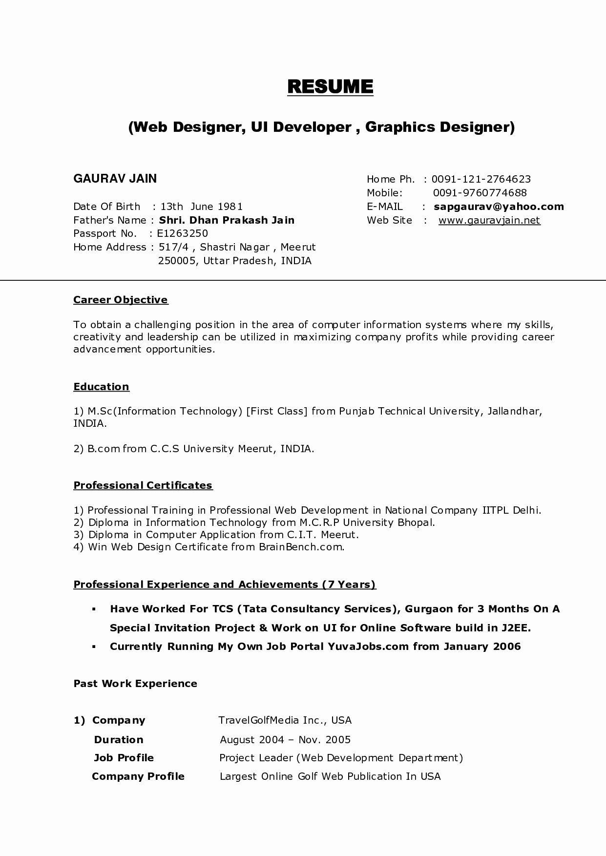 Resume Template Download for Wordpad