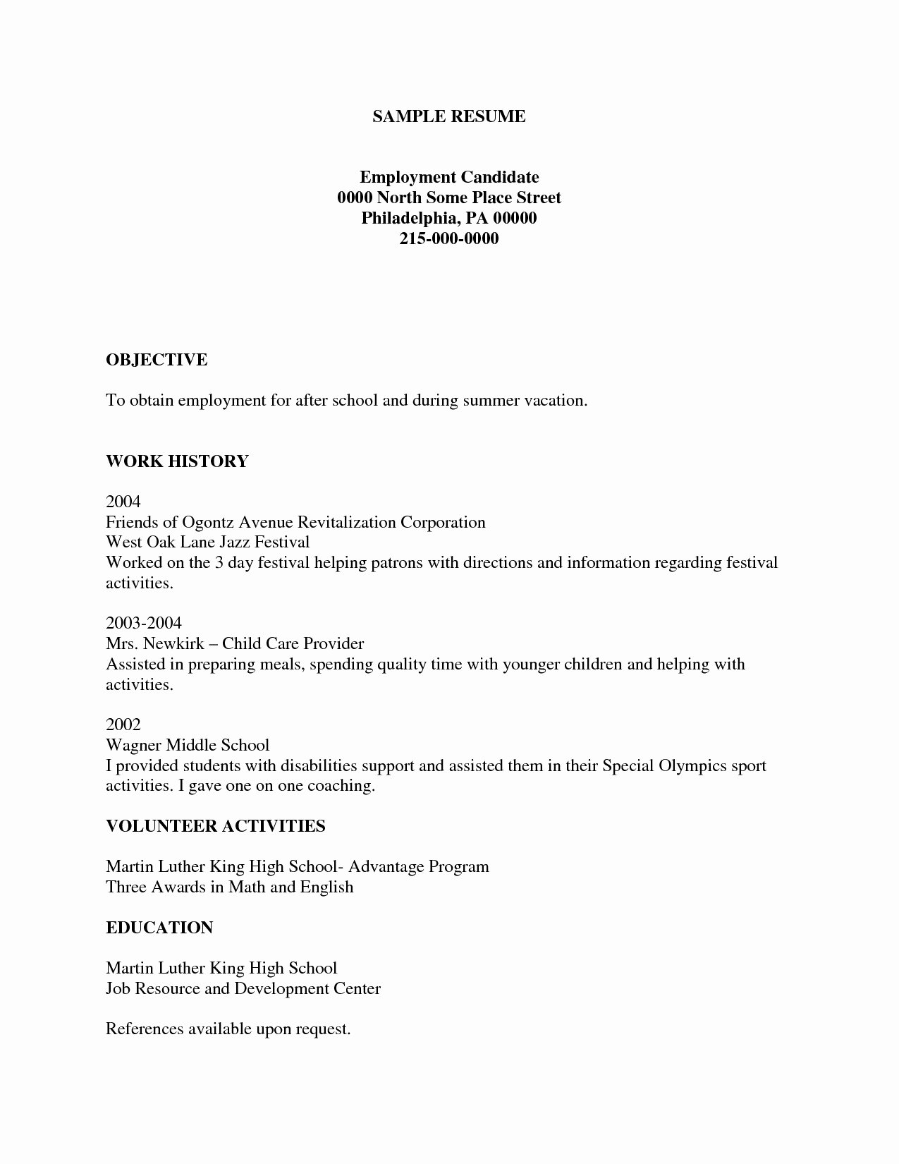 Resume Template for Kids