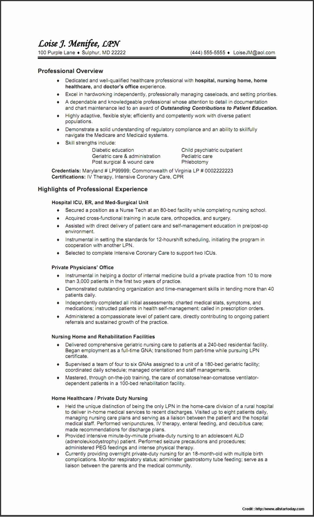 Resume Template for Nursing School Application Resume
