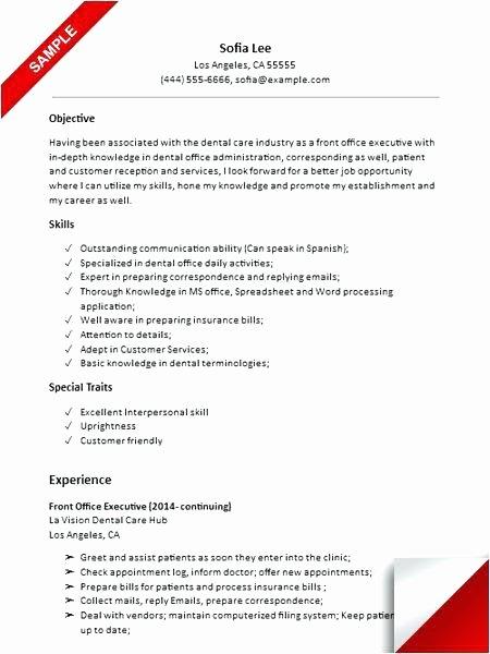 Resume Template for Receptionist Dental Receptionist