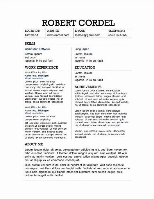 Resume Template for Word 2013