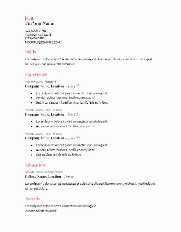 Resume Template Google Docs Image Collections
