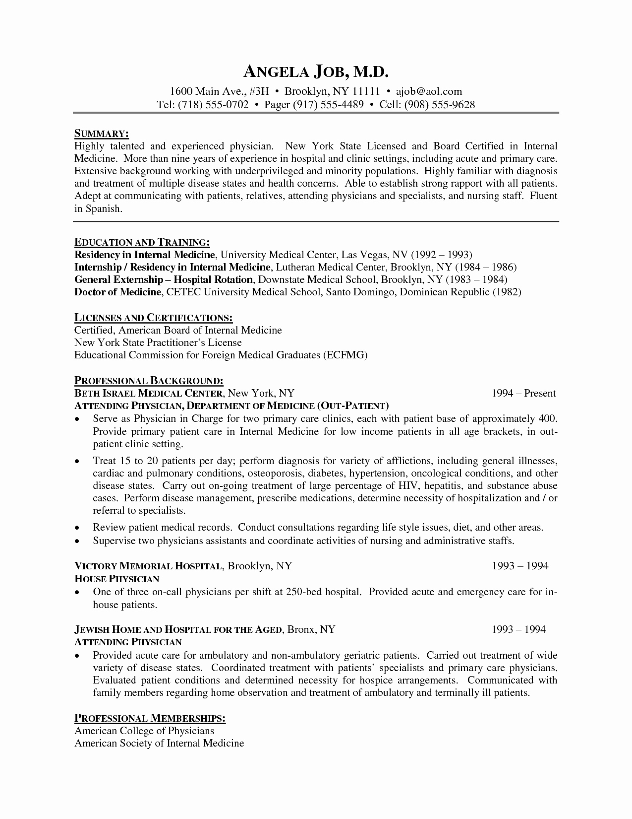 Resume Template Medical Doctor Cv Resume Physician Cv