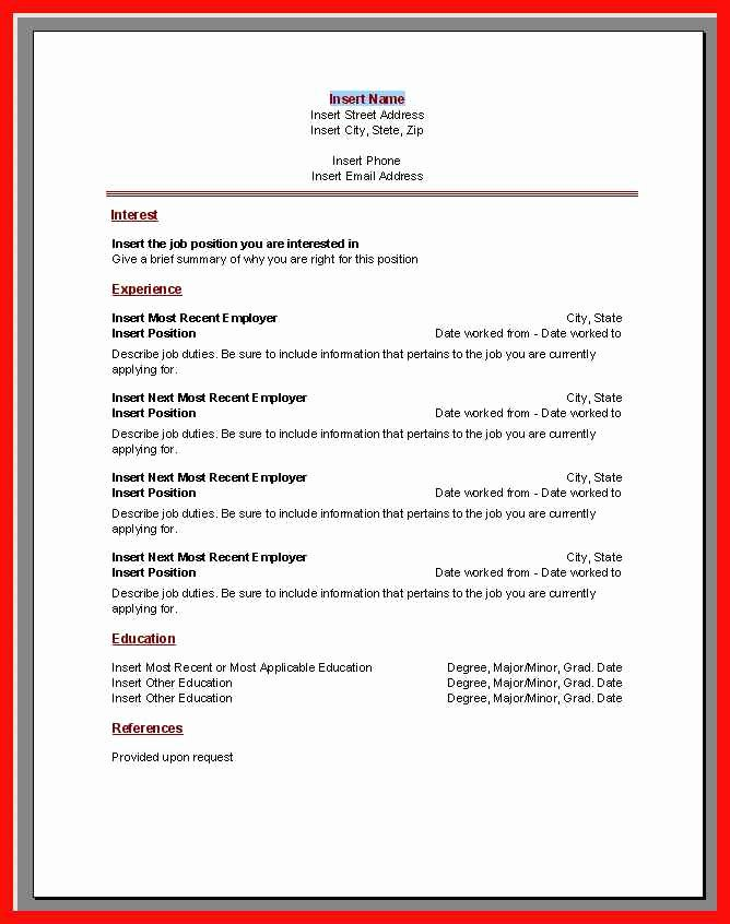 Resume Template Microsoft