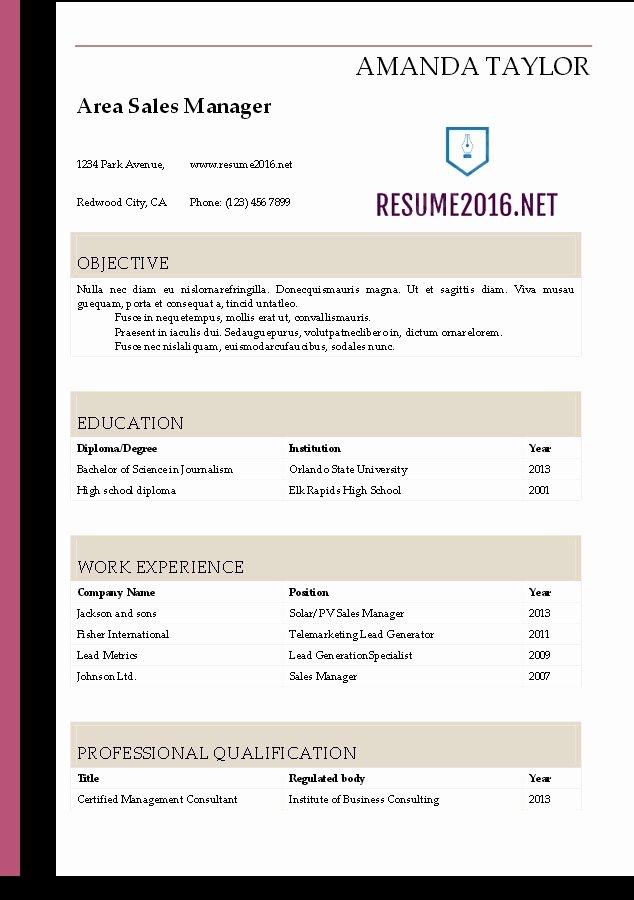 Resume Template Microsoft Word 2016