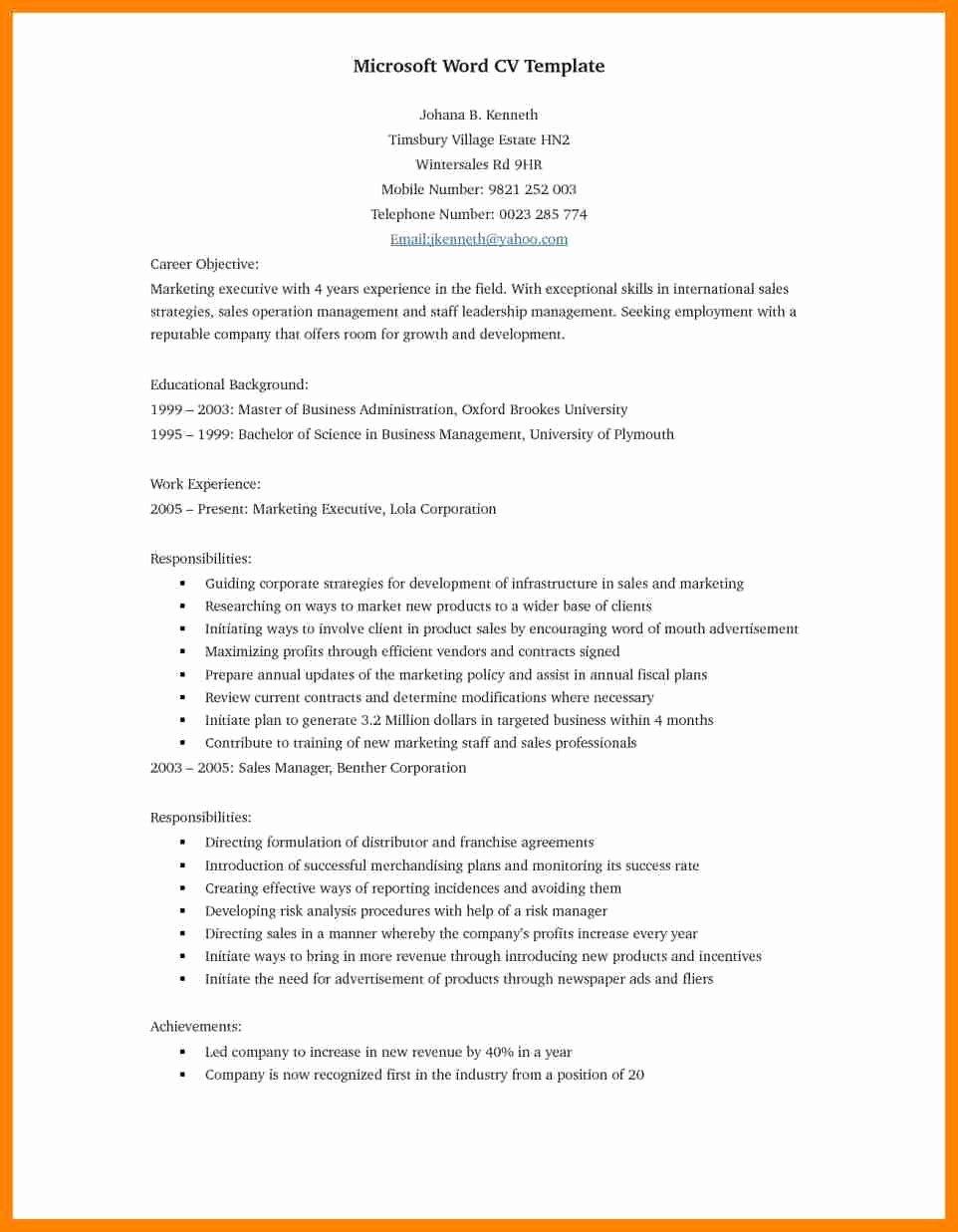 Resume Template Microsoft Word 2017