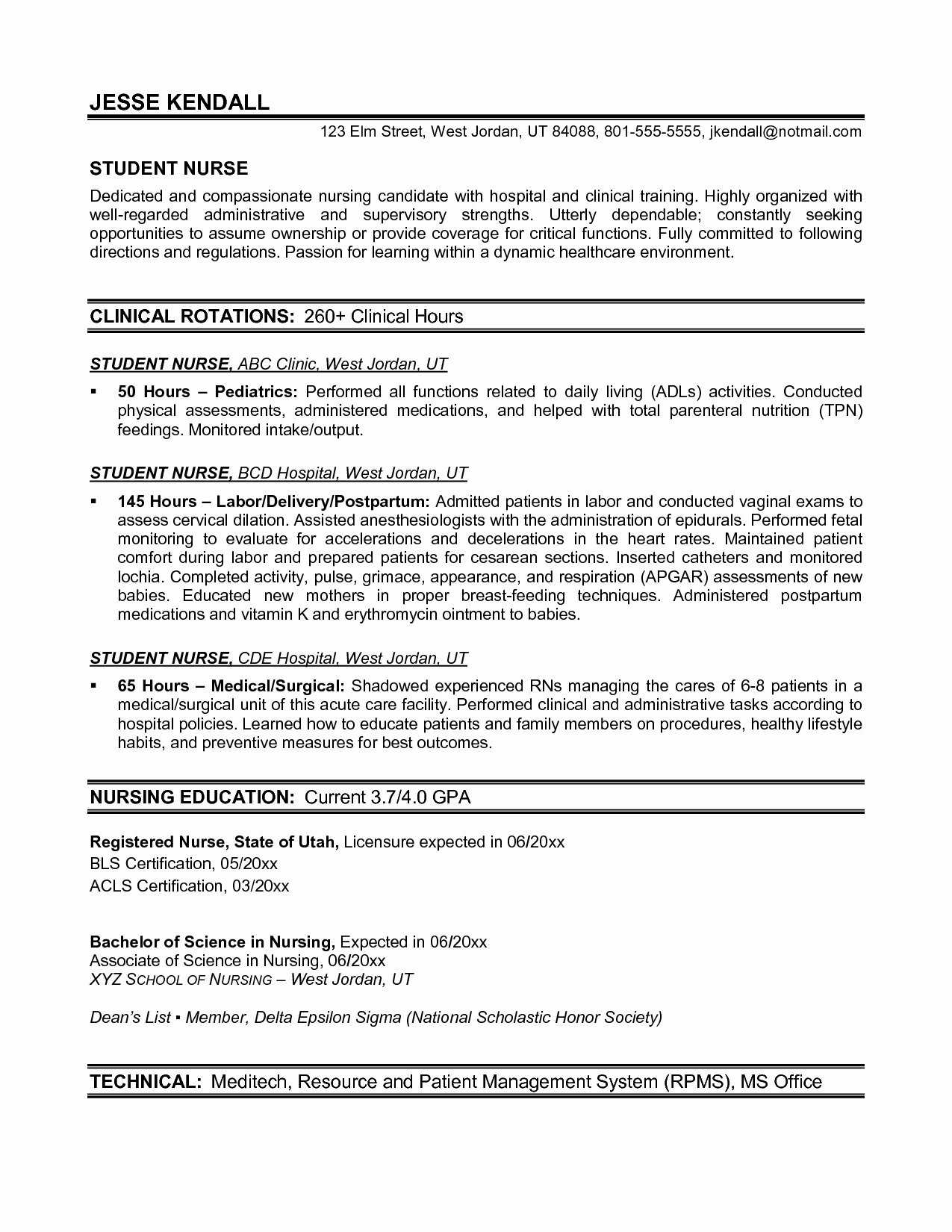 Resume Template Nursing Nursing