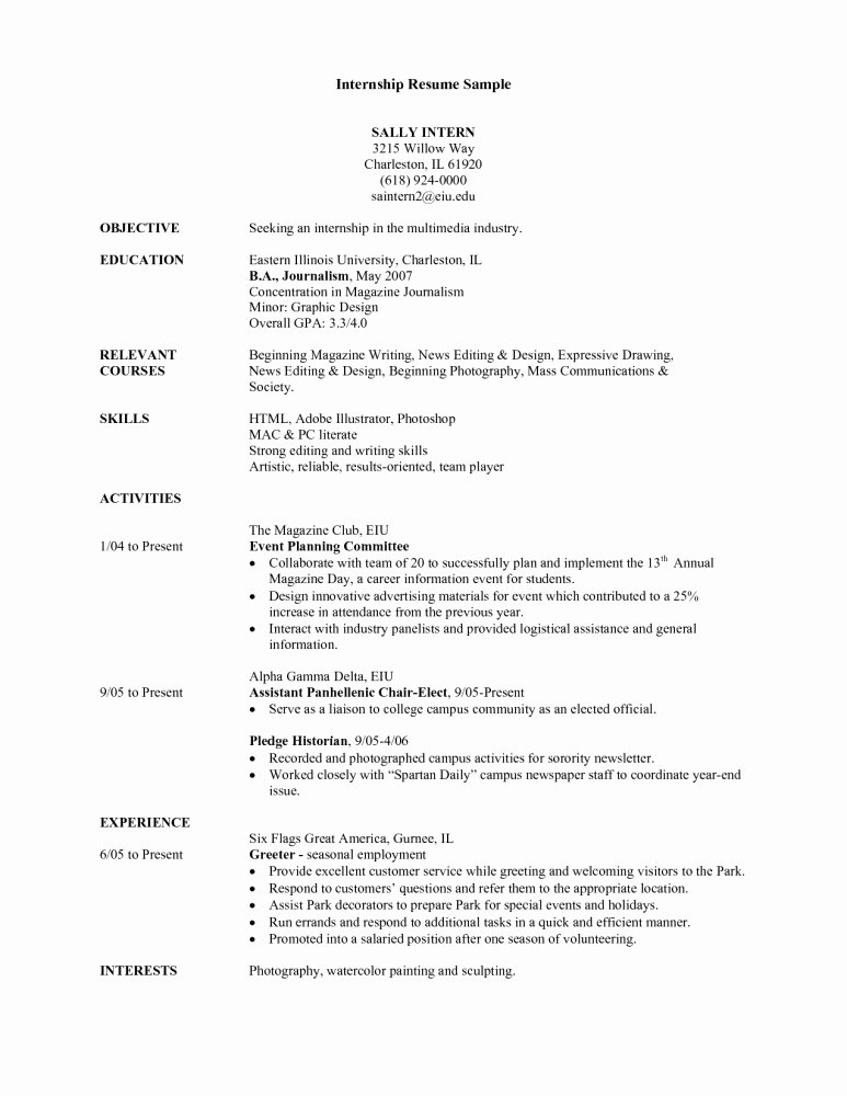 Resume Template Sample Resume for College Student Seeking