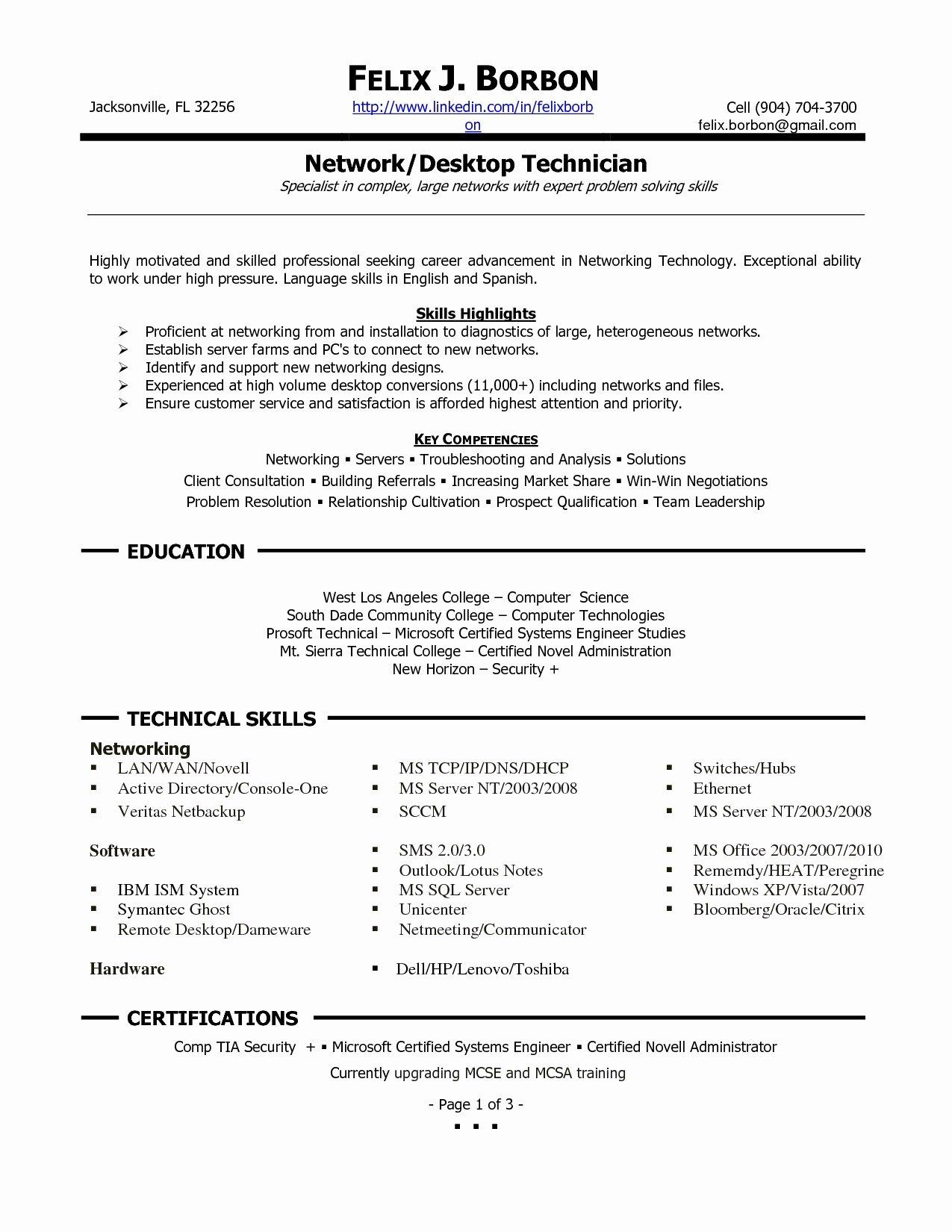 Resume Templates Desktop Support Technician Resumes Donkey
