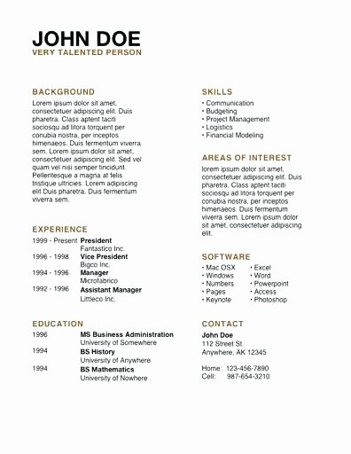 Resume Templates for Mac Sarahepps