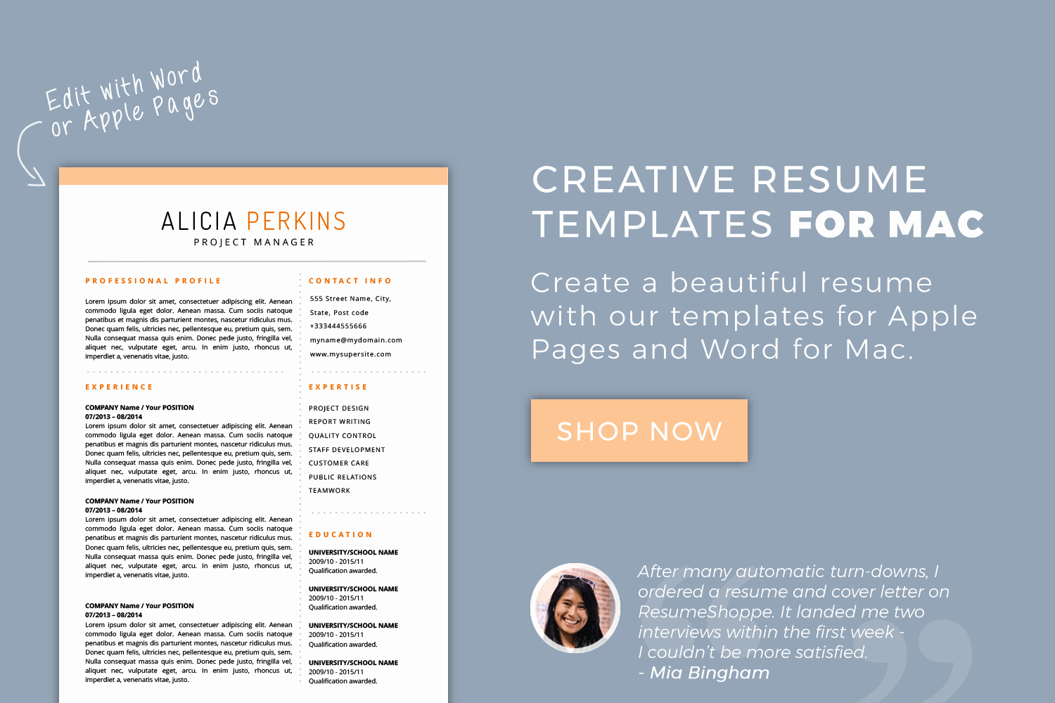 Resume Templates for Mac Word & Apple Pages Instant