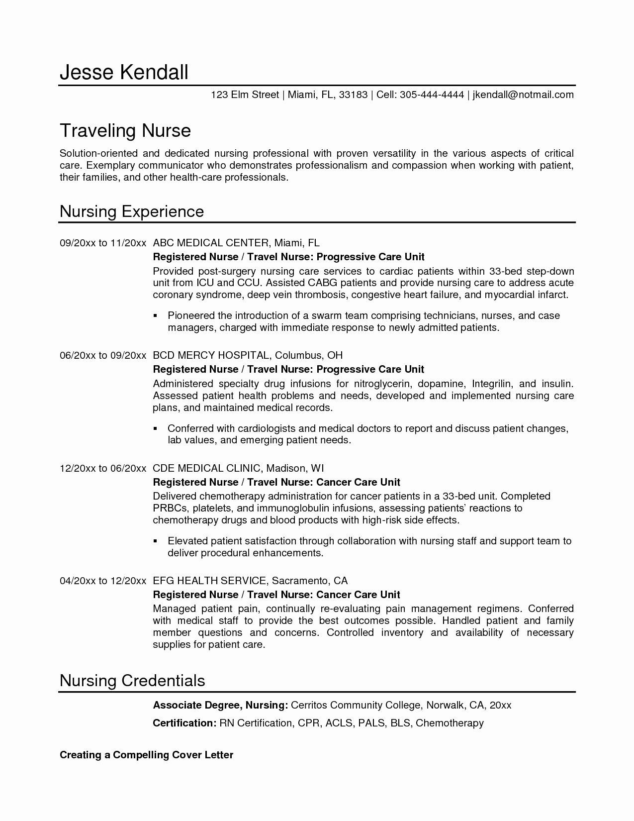Resume Templates for Nursing New Graduates