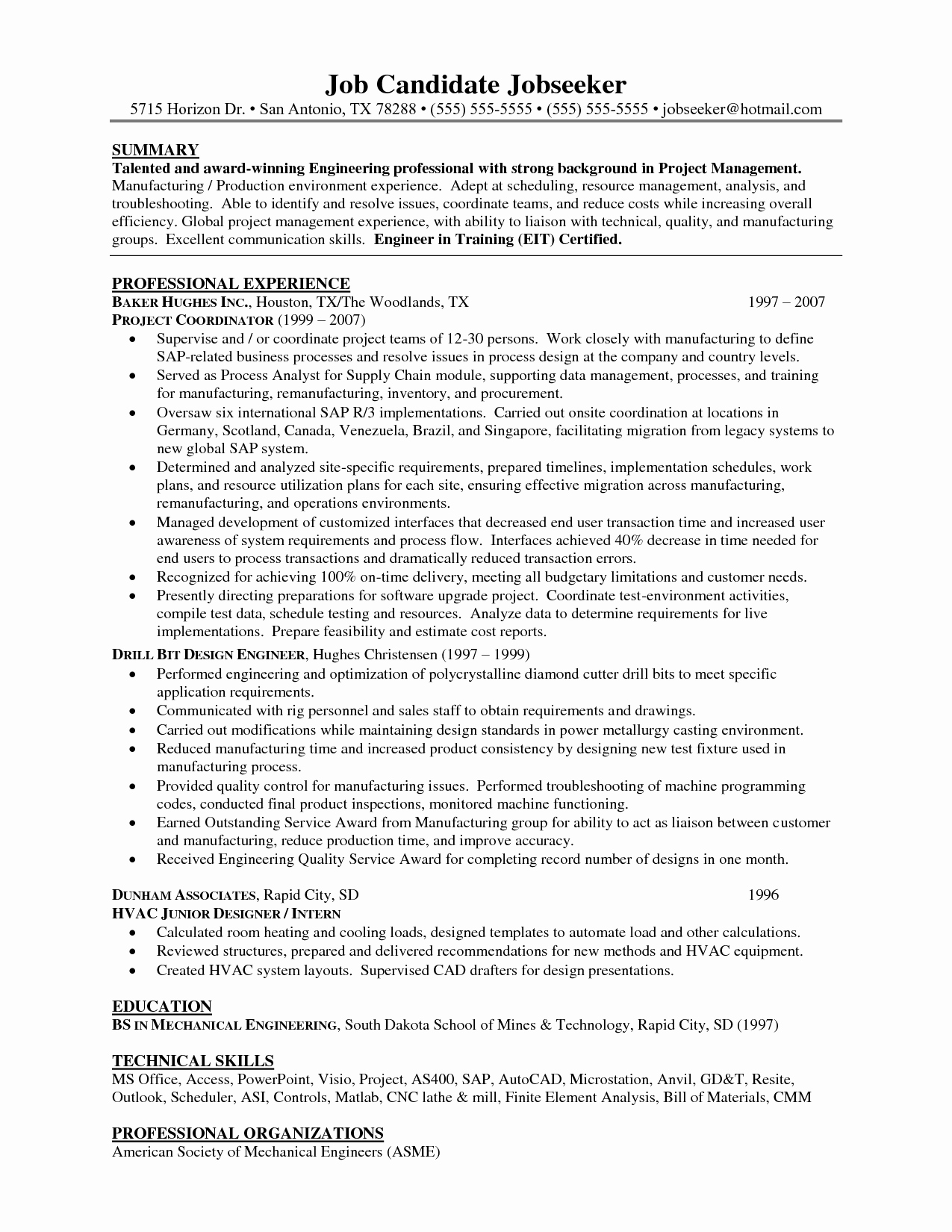Resume Templates for software Project Manager Sidemcicek