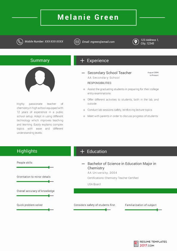 Resume Templates for Teachers are the Skillful Way to