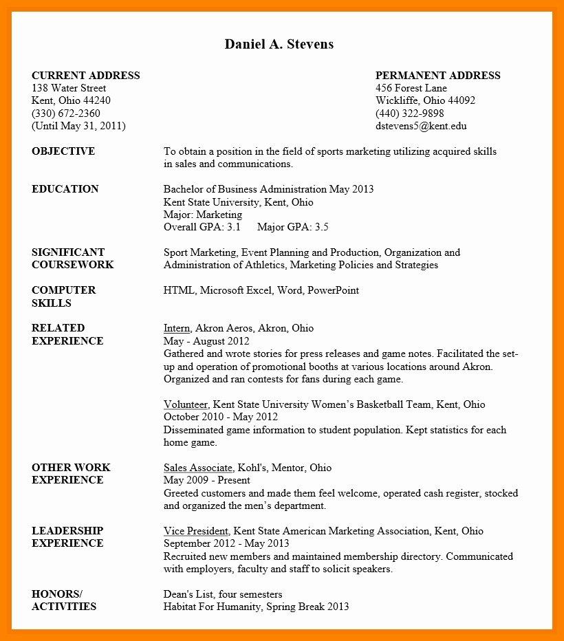Resume Templates for Undergraduate Students Best Resume