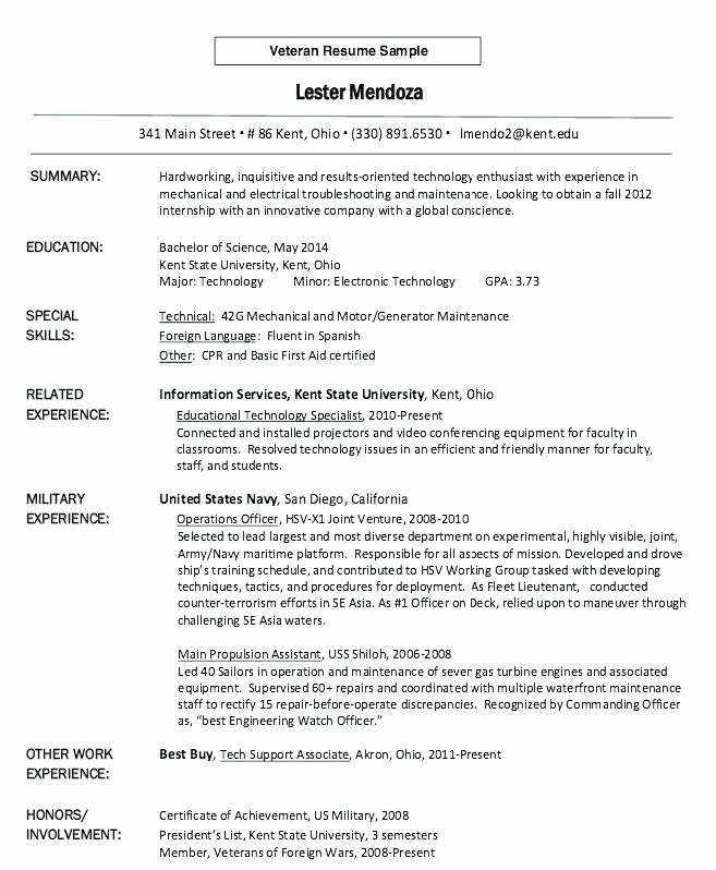 Resume Templates for Veterans