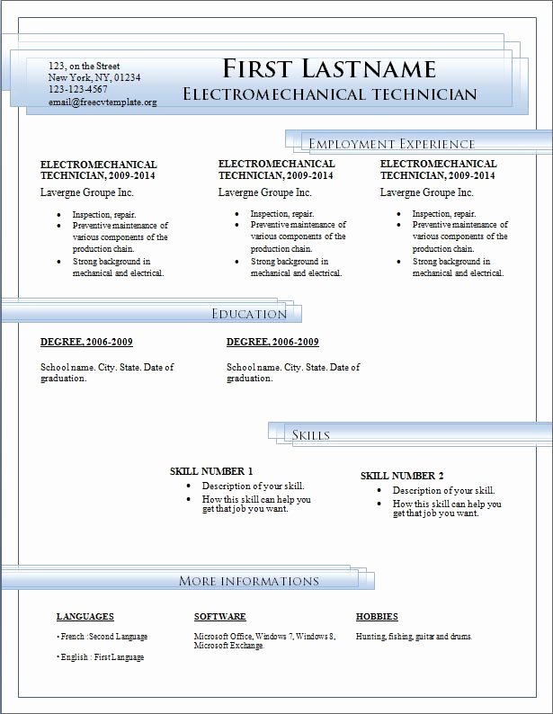 Resume Templates Free Download for Microsoft Word