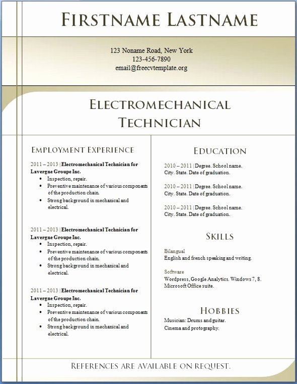 Resume Templates Word 2013