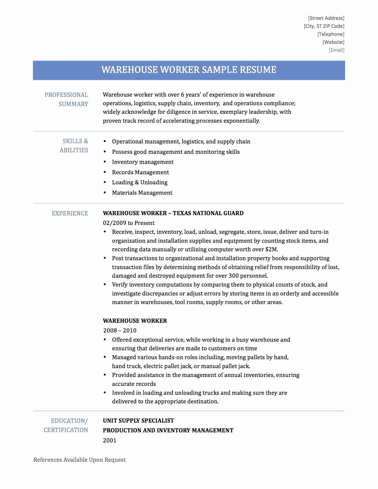 Resume Warehouse Job
