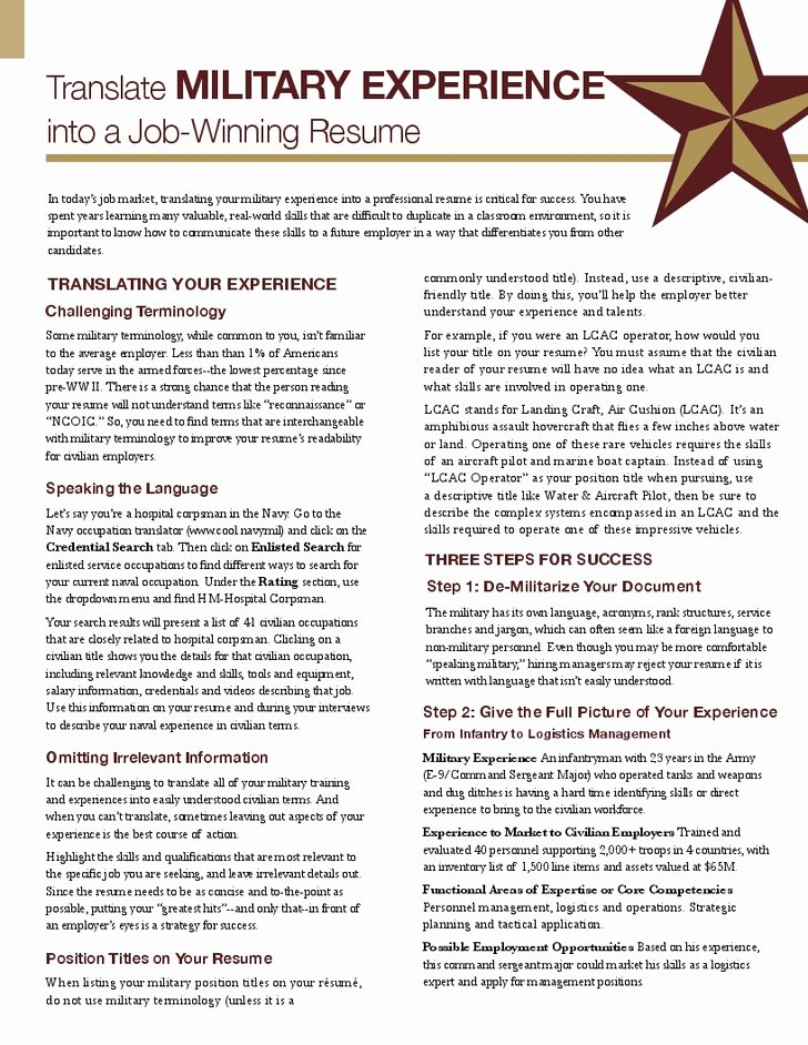Resume with Military Experience Best Resume Gallery