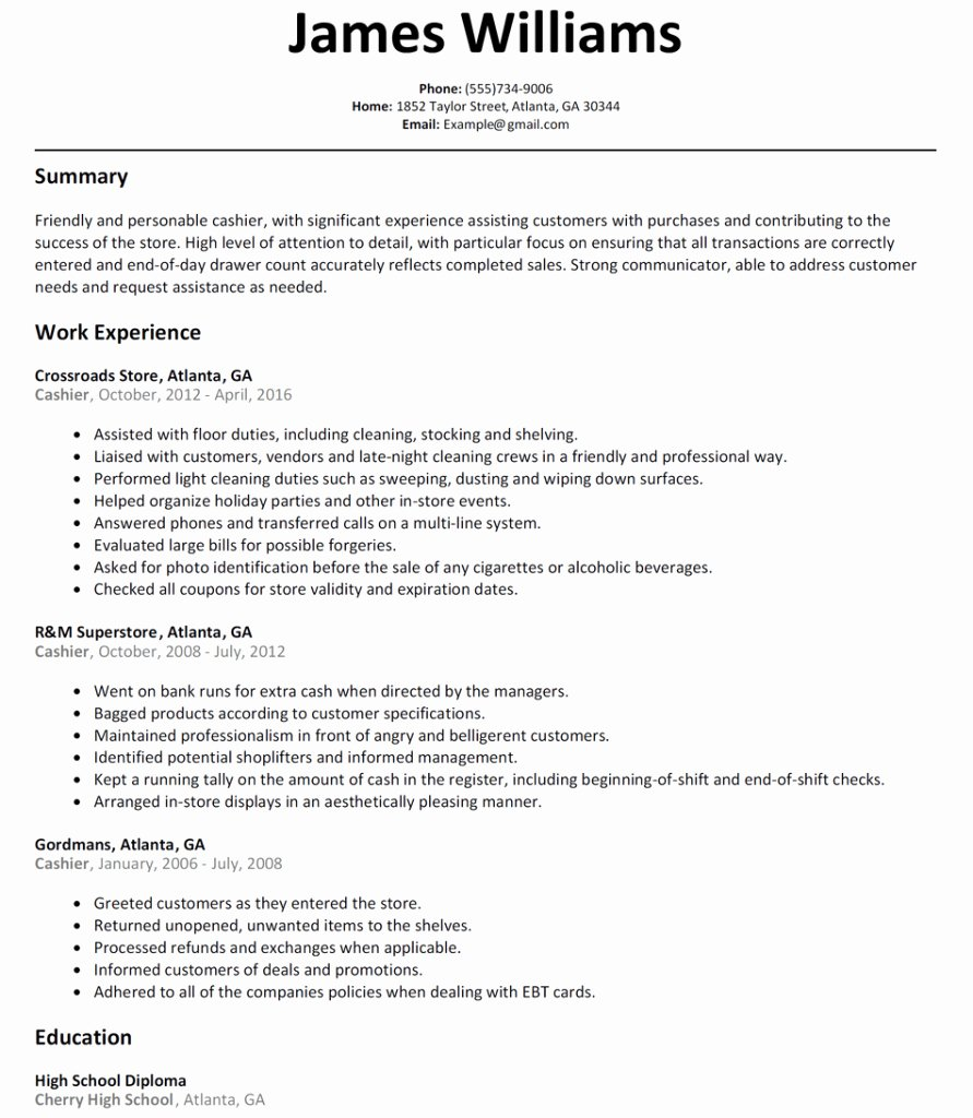 Resume Wording for Cashier Cashier Resume Sample Examples
