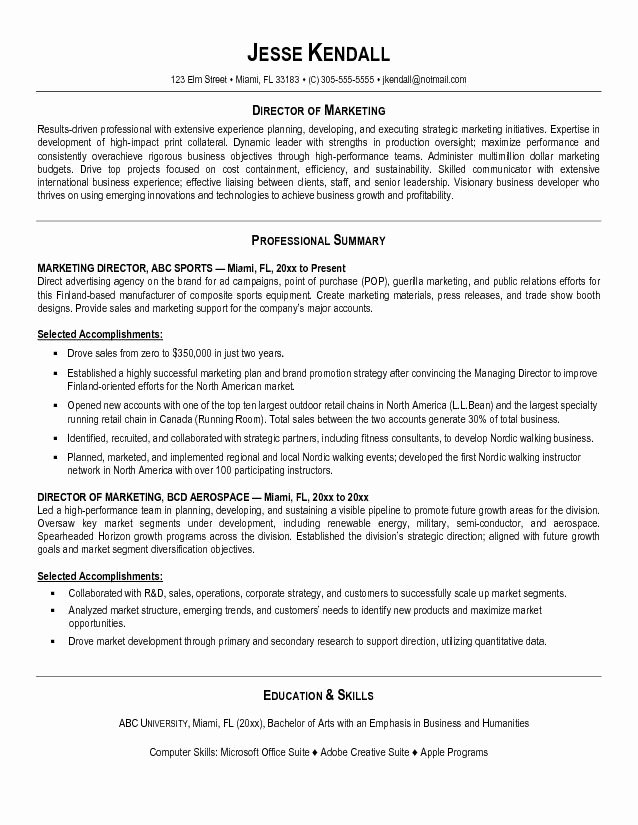 Resume Writing Tips Marketing