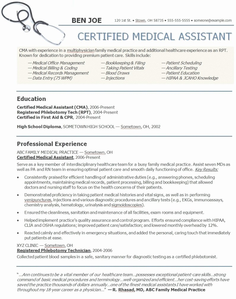 Resumes Examples for Medical assistant Sample Medical
