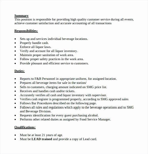 Resumes for Bartending Bartender Resume Skills Objective