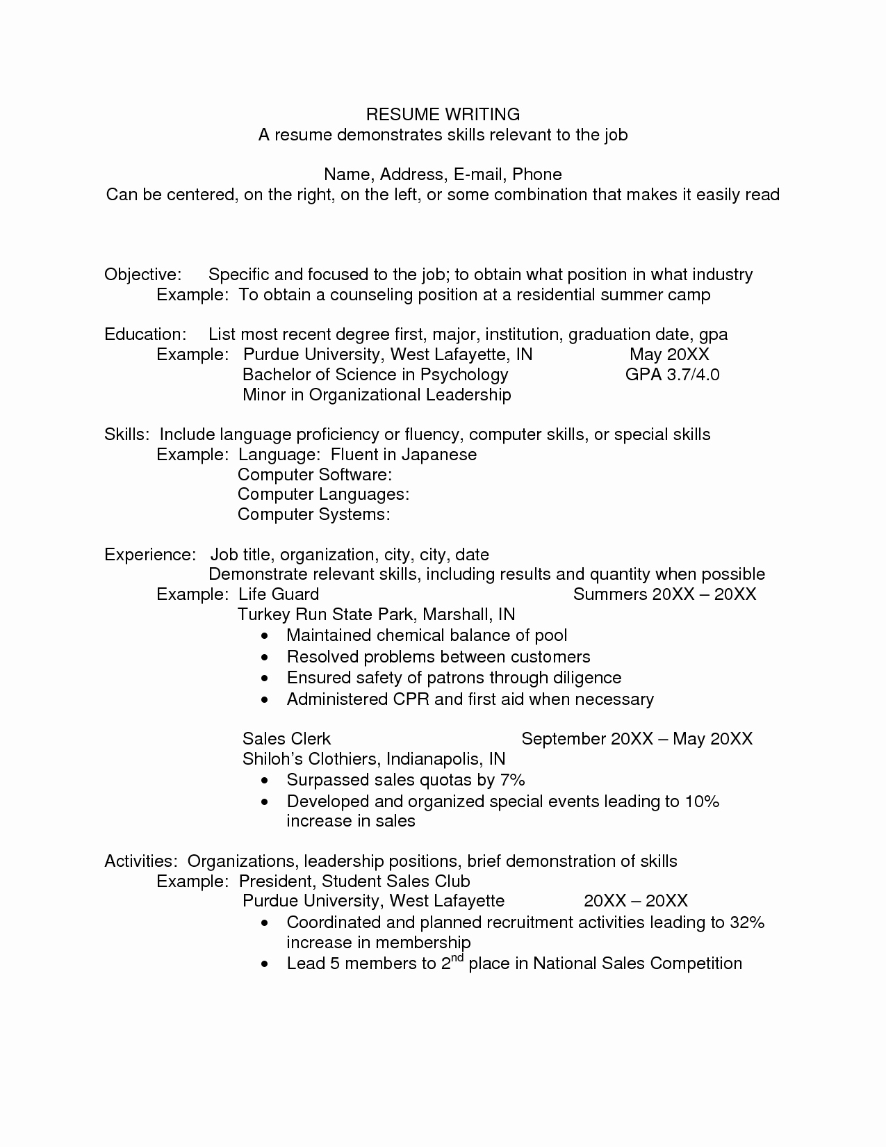 Resumes for Camp Counselors Cover Letter Samples Cover