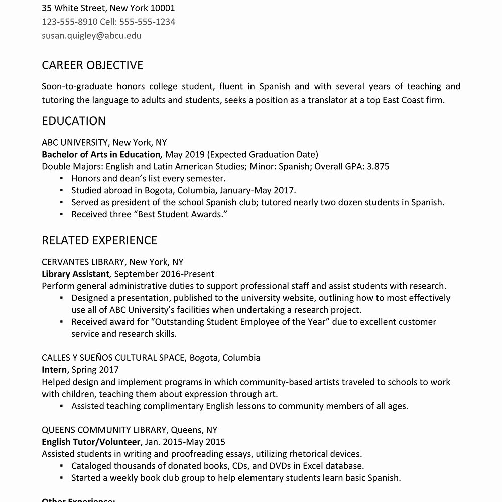 Resumes for College Students College Student Resume Sample