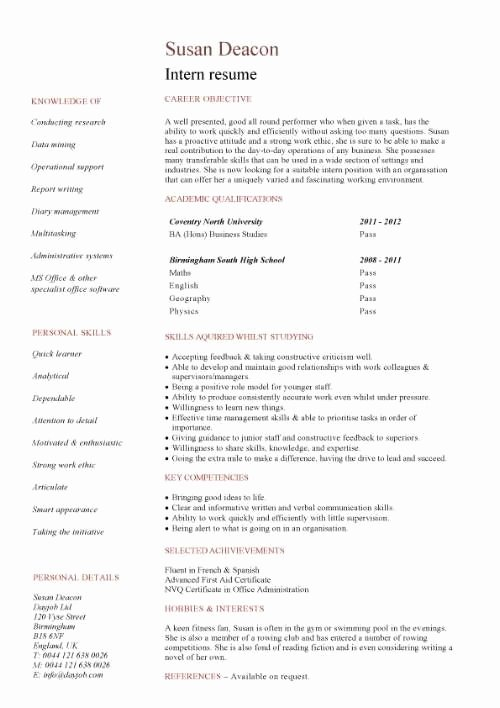 Resumes for College Students with No Experience Best