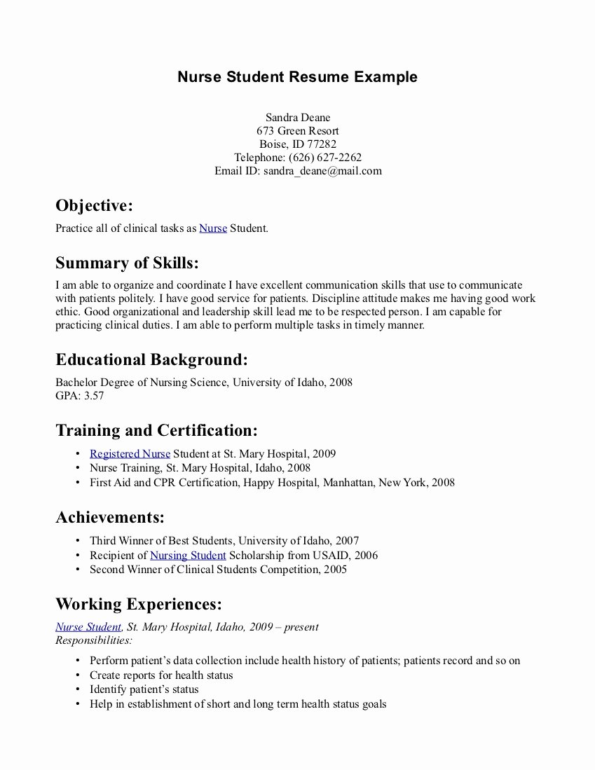 Resumes for Nursing Students Entry Level Nurse Resume