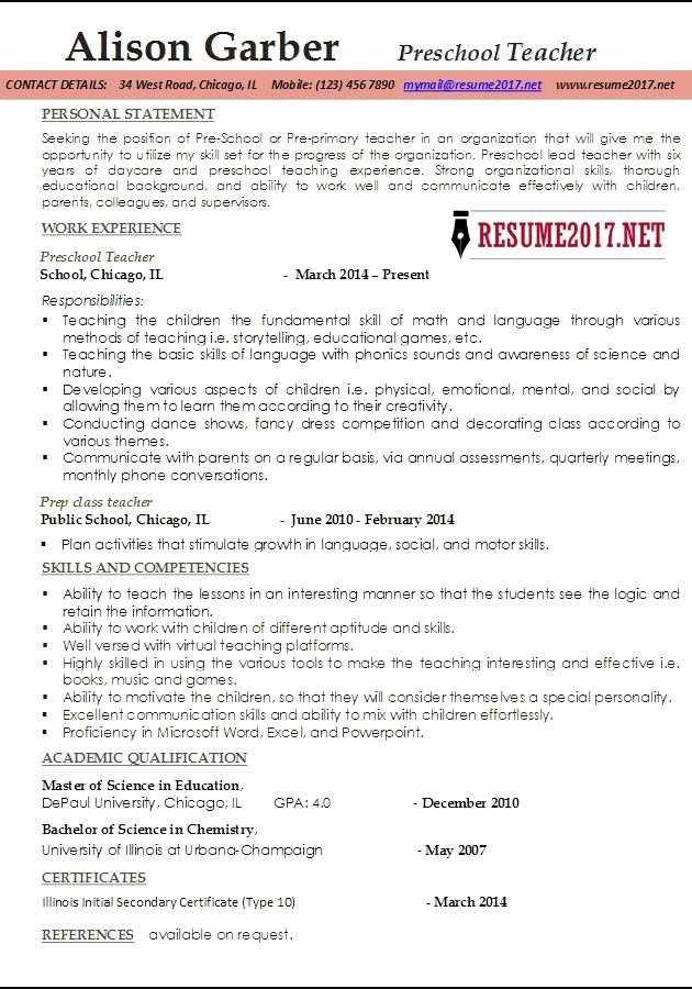 Resumes for Preschool Teachers Best Resume Collection