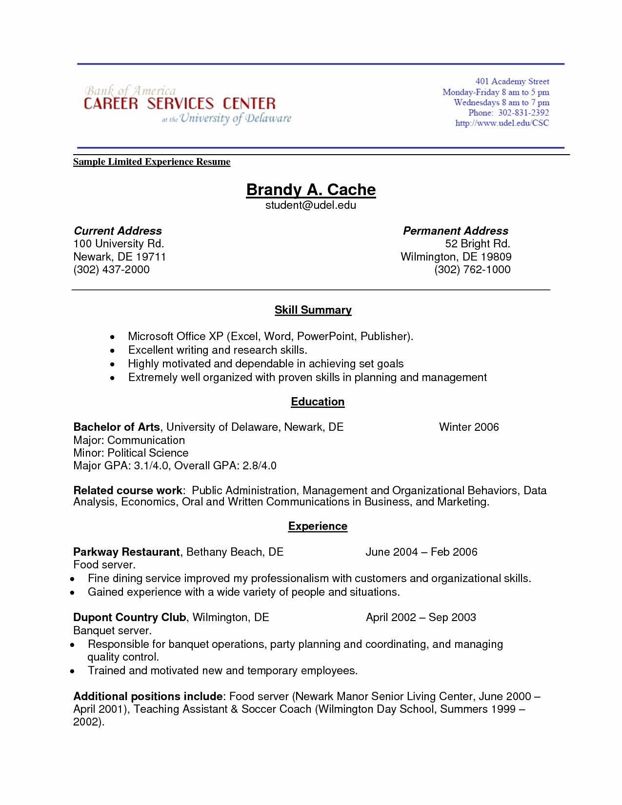 Resumes Work Experience order
