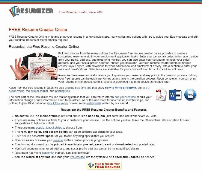 Resumizer Free Resume Creator Alternatives and Similar