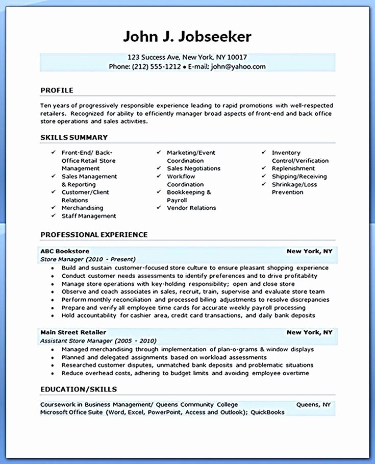 Retail assistant Manager Resume Retail Manager Resume