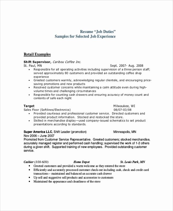 Retail Cashier Job Description for Resume Best Resume