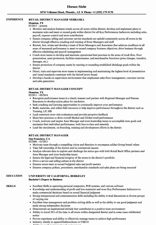 Retail District Manager Resume Sample Talktomartyb
