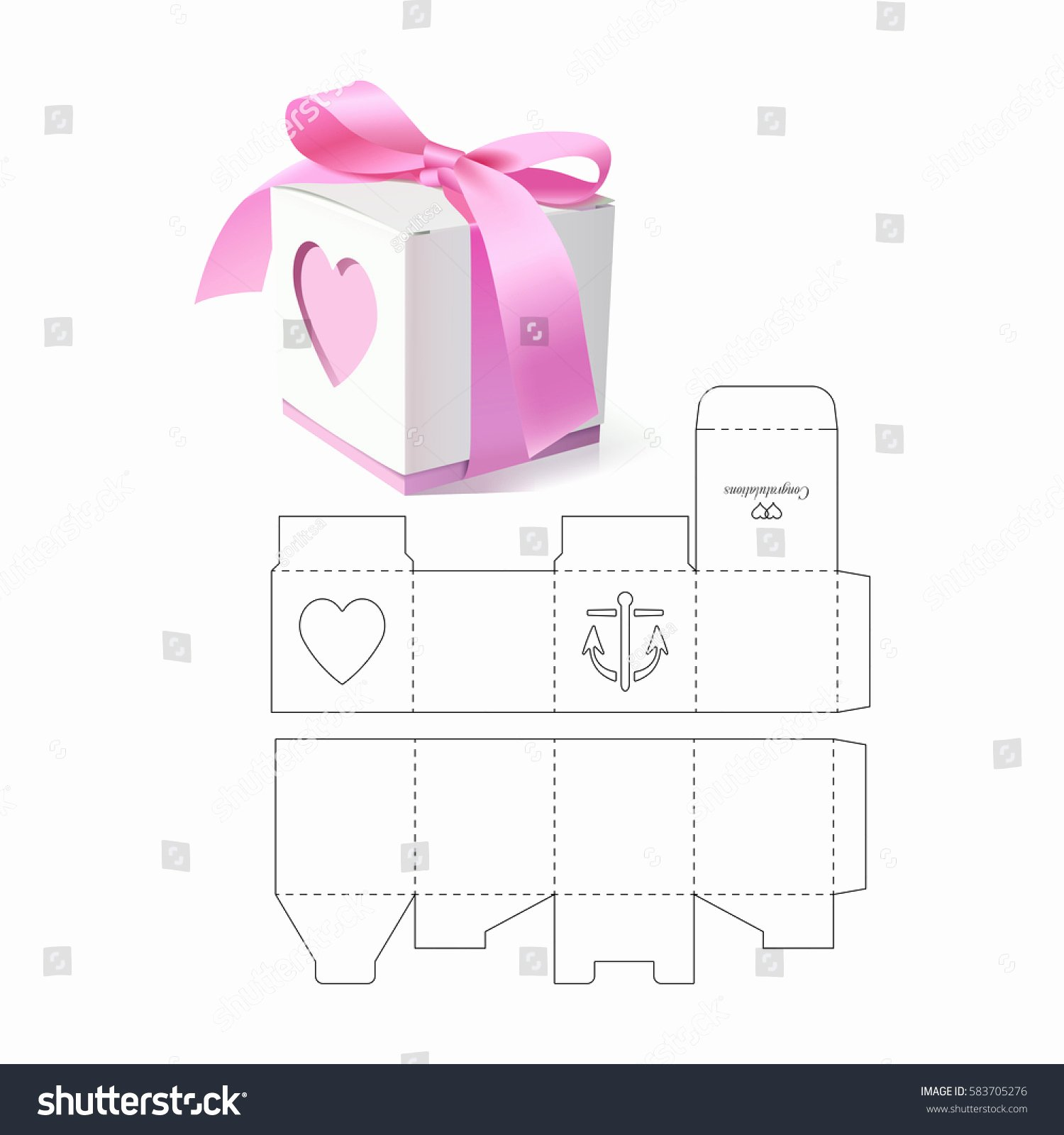 Retail Gift Box Die Cut Template Stock Vector