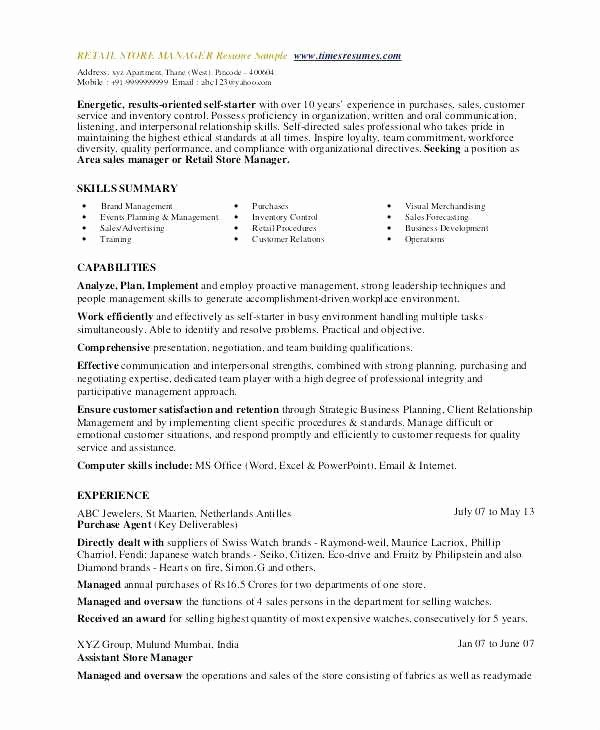Retail Management Skills for Resume Luxury Store Manager