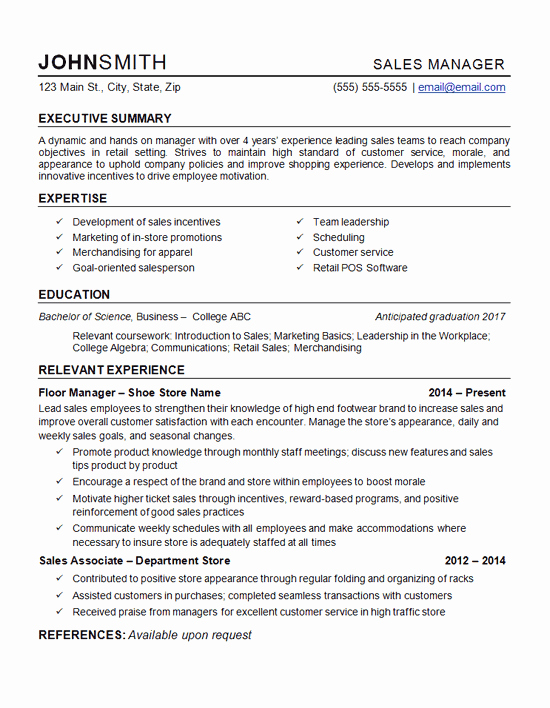 Retail Manager Resume Example Department Store