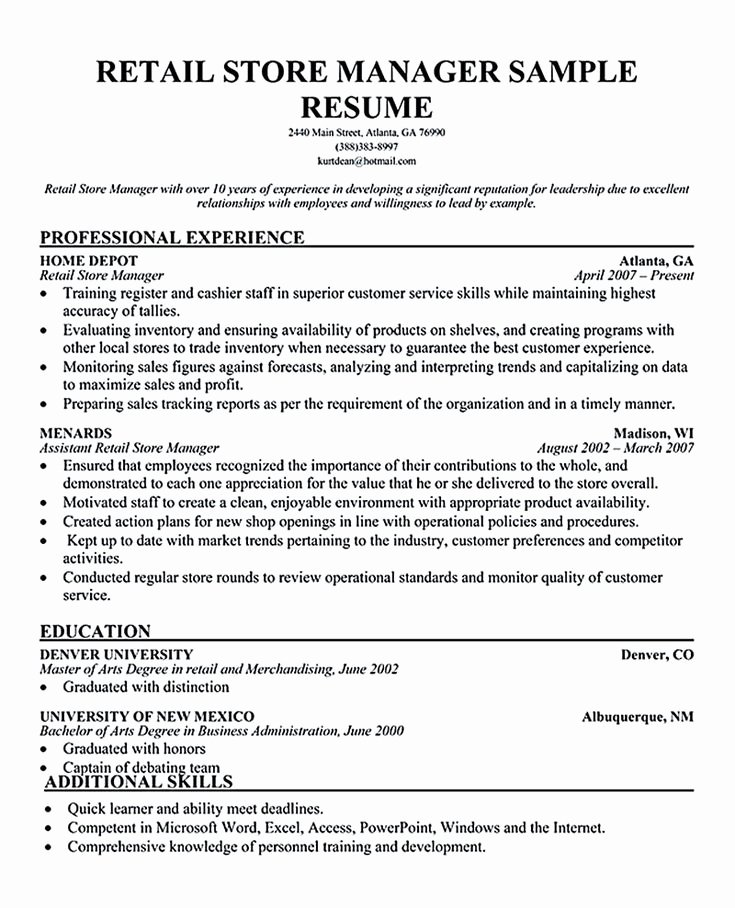Retail Manager Resume Examples Retail Manager Resume is