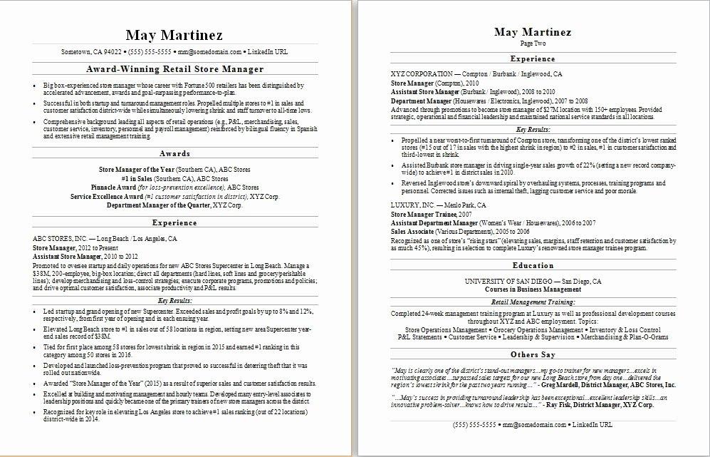 Retail Manager Resume Sample