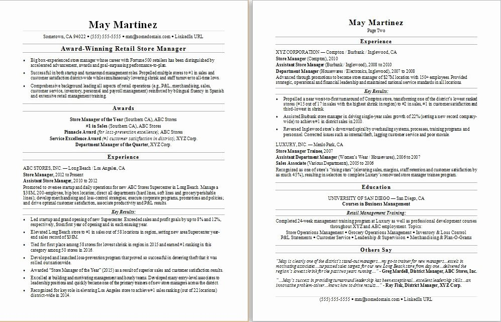 Retail Manager Resume Sample