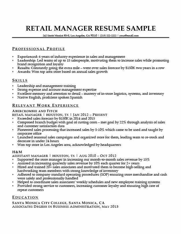 Retail Manager Resume Sample & Writing Tips
