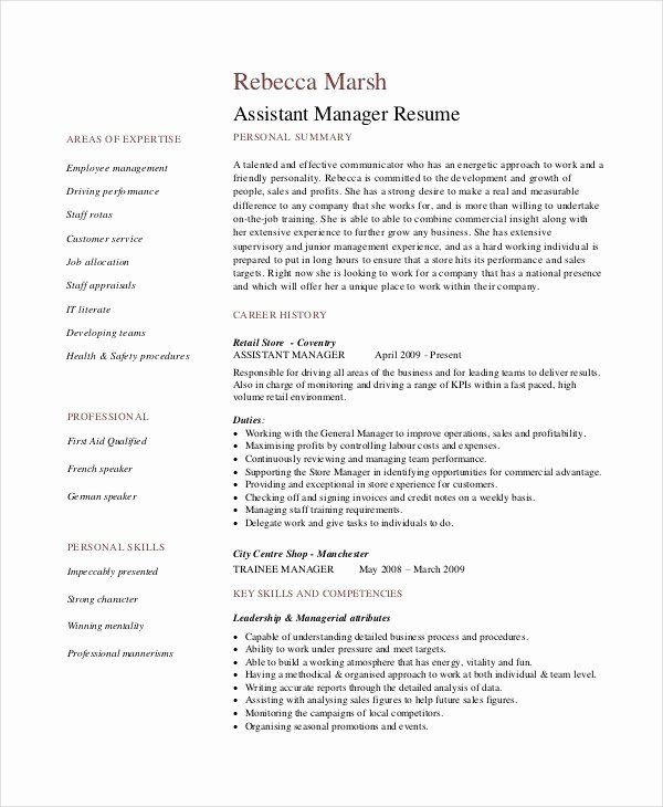 Retail Manager Resumes Resume Sample