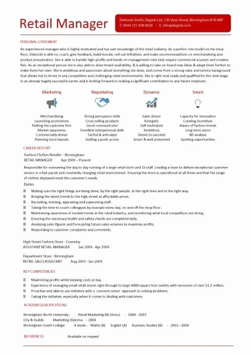 Retail Manager Sample Resume Icebergcoworking