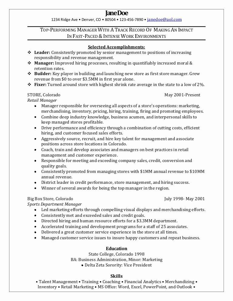 Retail Manager Sample Resume