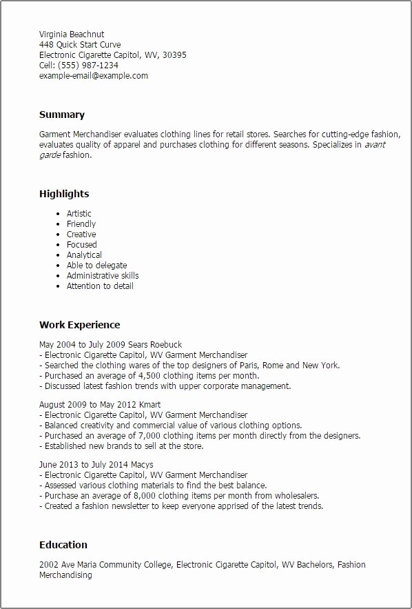 Retail Merchandiser Resume Best Resume Collection