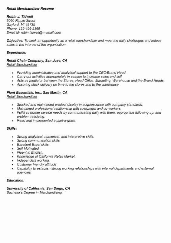 Retail Merchandiser Resume Sample Best Resume Collection